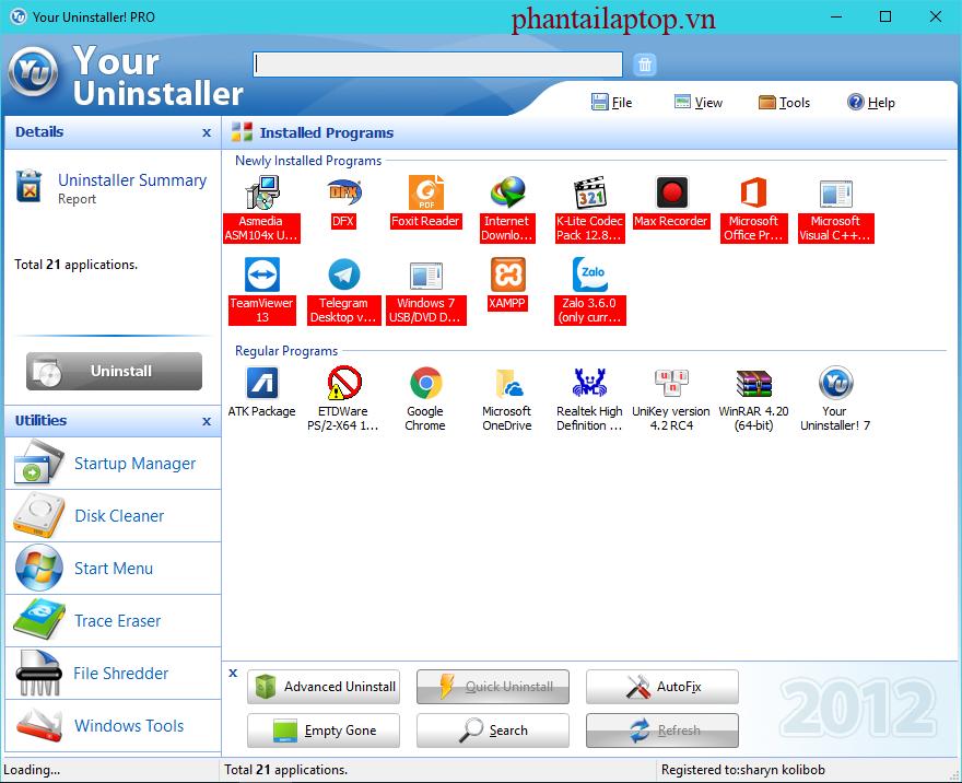 gioi thieu your unnistaller phantailaptop.vn  - Your Uninstaller7.5 full